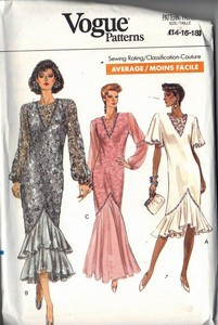 Vogue 7669 Evening Dress Pattern 14-16-18 UNCUT