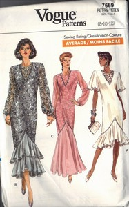 Vogue 7669 Evening Dress Pattern 8-10-12 UNCUT
