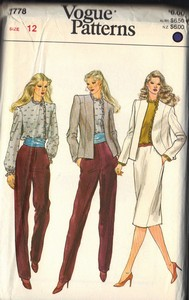 Vogue 1778 Suit Wardrobe Sewing Pattern UNCUT