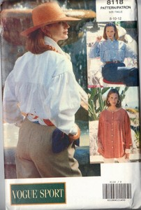 Vogue 8118 Roomy Shirt Pattern 8-10-12 UNCUT