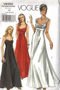 Vogue 8360 Glamorous Evening Gown Pattern 18-22 UNCUT