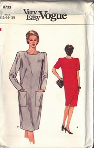 Vogue 8733 Sheath Dress Pattern 12-14-16 UNCUT