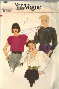 Vogue 8864 Draped Neckline Blouse Pattern UNCUT