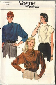 Vogue 8865 Bias Draped Neckline Blouse Pattern Uncut