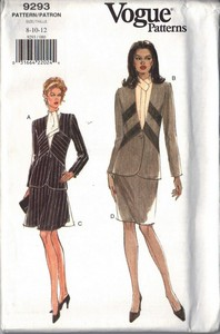 Vogue 9293 Suit Pattern Asymmetrical Style UNCUT Size 8-10-12