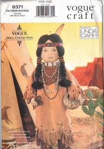 Vogue 9371 Native American Doll Pattern UNCUT
