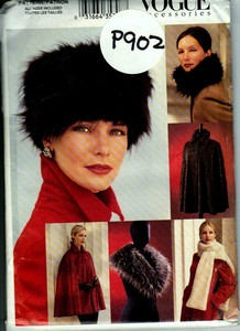 Vogue P902 Hat Collar Stole Cape Pattern UNCUT