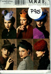 Vogue P905 Retro Style Hat Pattern UNCUT