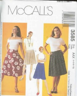 McCalls 3585 Skirt Pattern Various Syles Sewing Pattern UNCUT