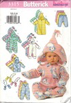 Butterick 3315 Infant Bunting Jacket Jumpsuit Pants & Mittens Pa