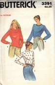 Butterick 3391 Pullover Top Sewing Pattern UNCUT