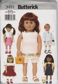 Butterick 3491 Doll Clothes Pattern UNCUT American Girl