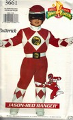 Butterick 3661 Jason Red Power Ranger Costume Pattern UNCUT