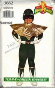 Butterick 3662 Tommy-Green Power Ranger Costume Pattern UNCUT