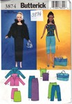 Butterick 3874 11-1.2 Inch Doll Clothes Pattern