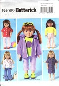 Butterick 4089 Doll Clothes Pattern NEW UNCUT American Girl