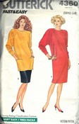 Butterick 4360 Misses Dress Tunic Skirt Pattern UNCUT Large