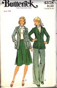 Butterick 4378 Jacket Skirt Pants Pattern Vintage UNCUT