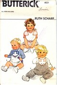 Butterick 4631 Vintage Pattern Infant Overalls Bib Pants UNCUT