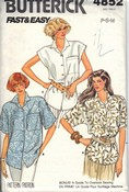 Butterick 4852 Misses Shirt Pattern UNCUT