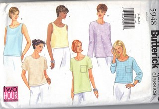 Butterick 5948 Casual Top Sewing Pattern UNCUT