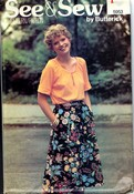 See Sew 5953 Top and Skirt Vintage Pattern UNCUT