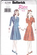 Butterick 6239 Retro '42 Dress Pattern Large Uncut
