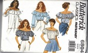 Butterick 6804 Off Shoulder Blouse Large Sewing Pattern