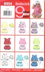 Butterick 6954 Infant Top Panties Hat Pattern