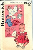 Butterick 9590 Vintage Doll Clothes Pattern 20 Inch UNCUT