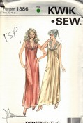 Kwik Sew 1386 Nightgown Pattern Circa 1984 UNCUT