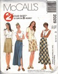 McCalls 2029 Skirt Pattern 2 Lengths Lrg UNCUT