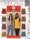 McCalls 2914 Vest Pattern Two Lengths UNCUT