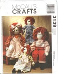 McCalls 3139 16 and 22 Soft Doll Pattern UNCUT
