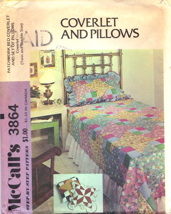 McCalls 3864 Patchwork Coverlet Pillows Vintage Pattern UNCUT