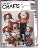 McCalls 5499 Raggedy Ann Andy Doll Pattern Uncut