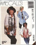 McCalls 6112 Vest Shirt Necktie Large Pattern Annie Hall