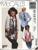 McCalls 6112 Vest Shirt Necktie Medium Pattern Annie Hall