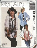 McCalls 6112 Vest Shirt Necktie Small Pattern Annie Hall