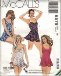 McCalls 6579 Size 16 Flared One Piece Swimsuit Pattern UNCUT