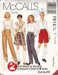 McCalls 77815 Pants Shorts Pattern UNCUT