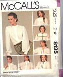 McCalls 8135 Blouse Pattern High Neck UNCUT