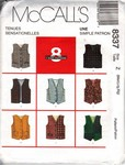 McCalls 8337 Size Z Childrens Vest Pattern UNCUT