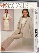McCall's 8370 Three Piece Easy Suit Pattern UNCUT