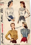 Simplicity 2340 Vintage Blouse Circa 1940's Pattern UNUSED