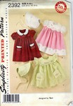 Simplicity 2392 Reissue Girls Dress And Bonnet Pattern