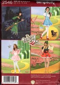 Simplicity 2546 U5 Adult Wizard of Oz Costume Pattern UNCUT