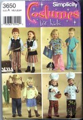 Simplicity 3650 Child Costume Pattern Pirate Scrubs Chef UNCUT