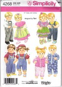 Simplicity 4268 15 inch Boy Girl Doll Clothes Pattern UNCUT