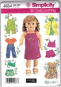 Simplicity 4654 18 inch Doll Clothes Pattern Uncut